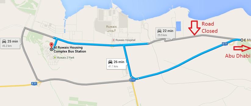 ruwais access detour