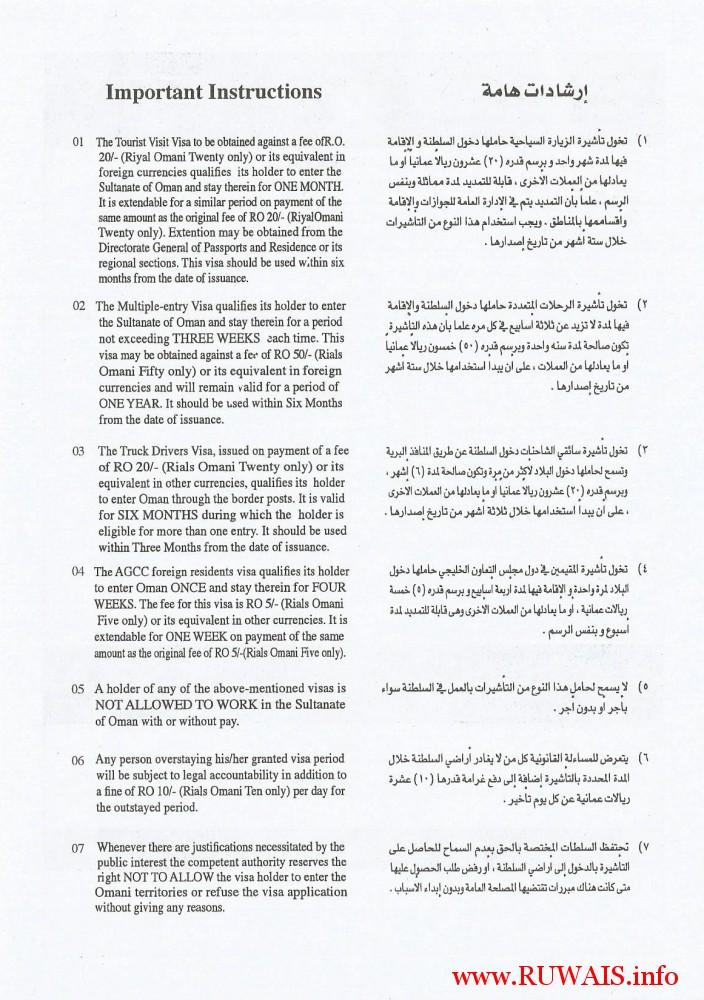 Sultanate of Oman Visa Aplication Form Back