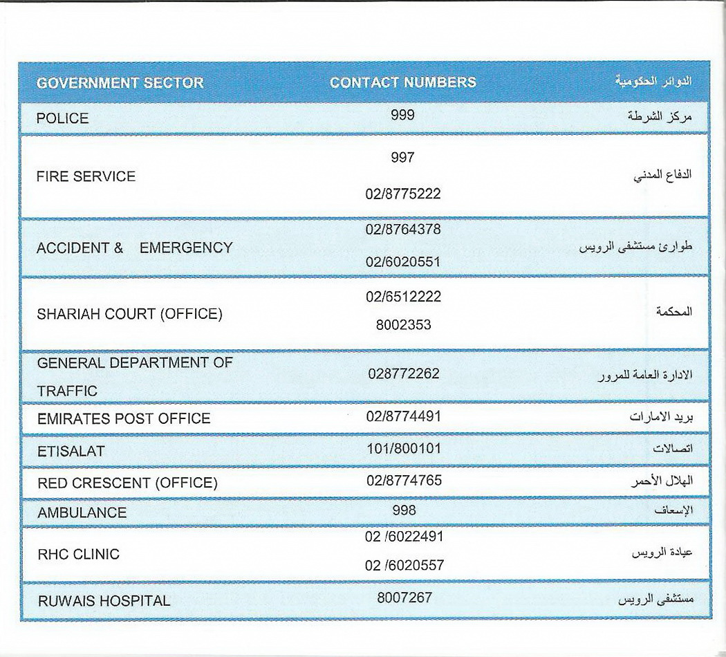 Ruwais Housing Complex Contact Numbers