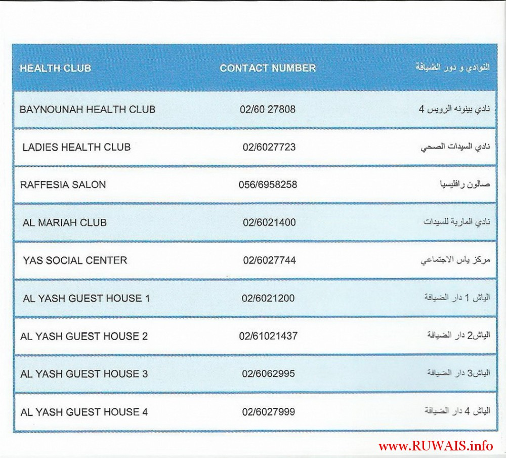 ruwais-housing-health-club-contact-numbers