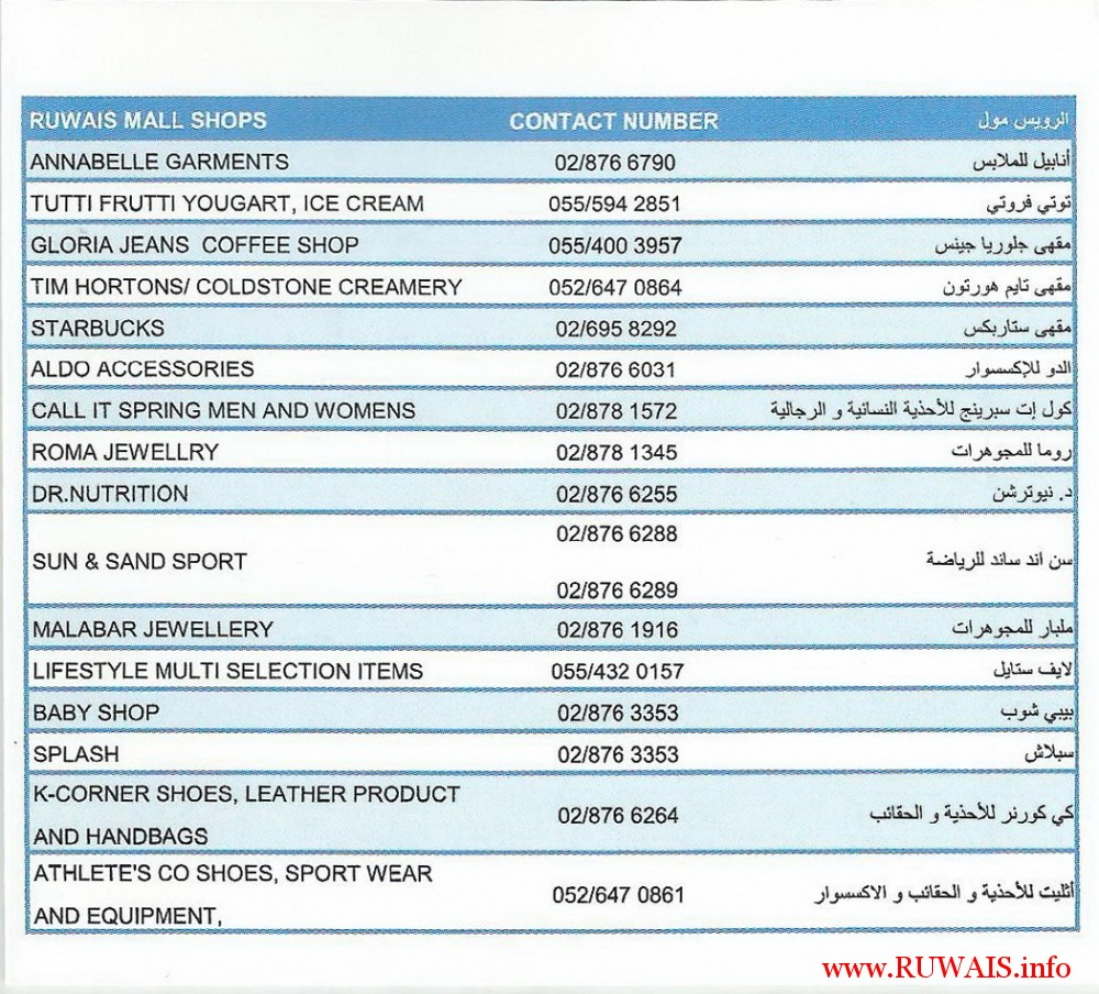 ruwais-mall-2-contact-numbers