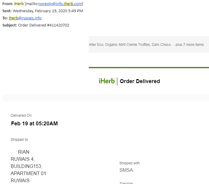 order delivered