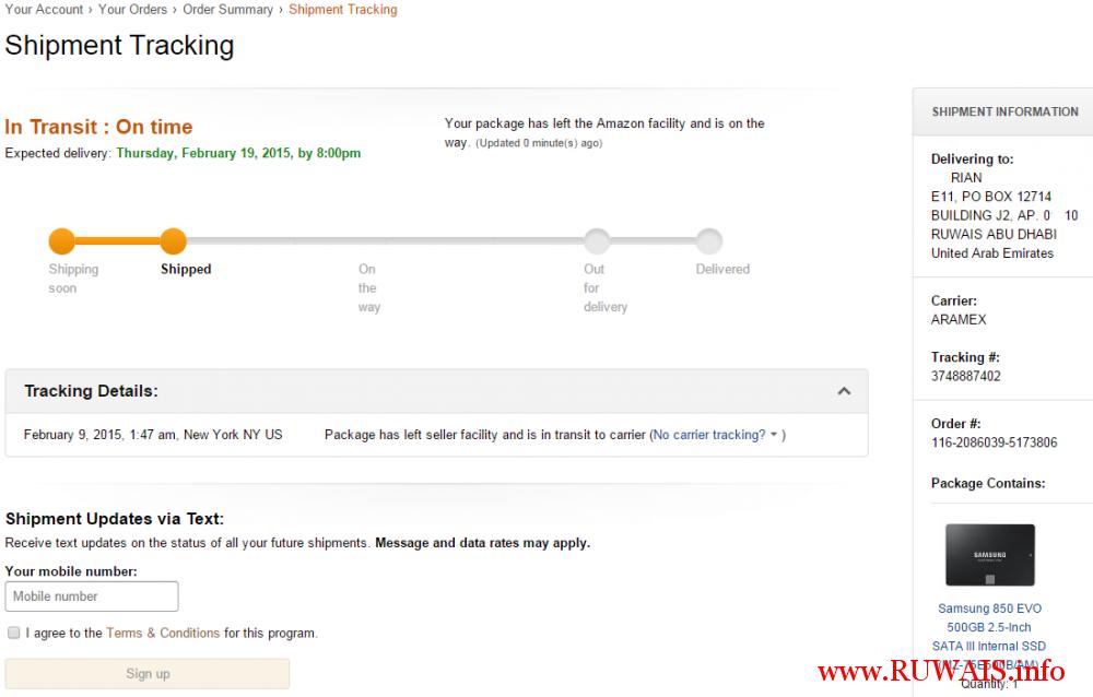 amazon.com order uae shipping