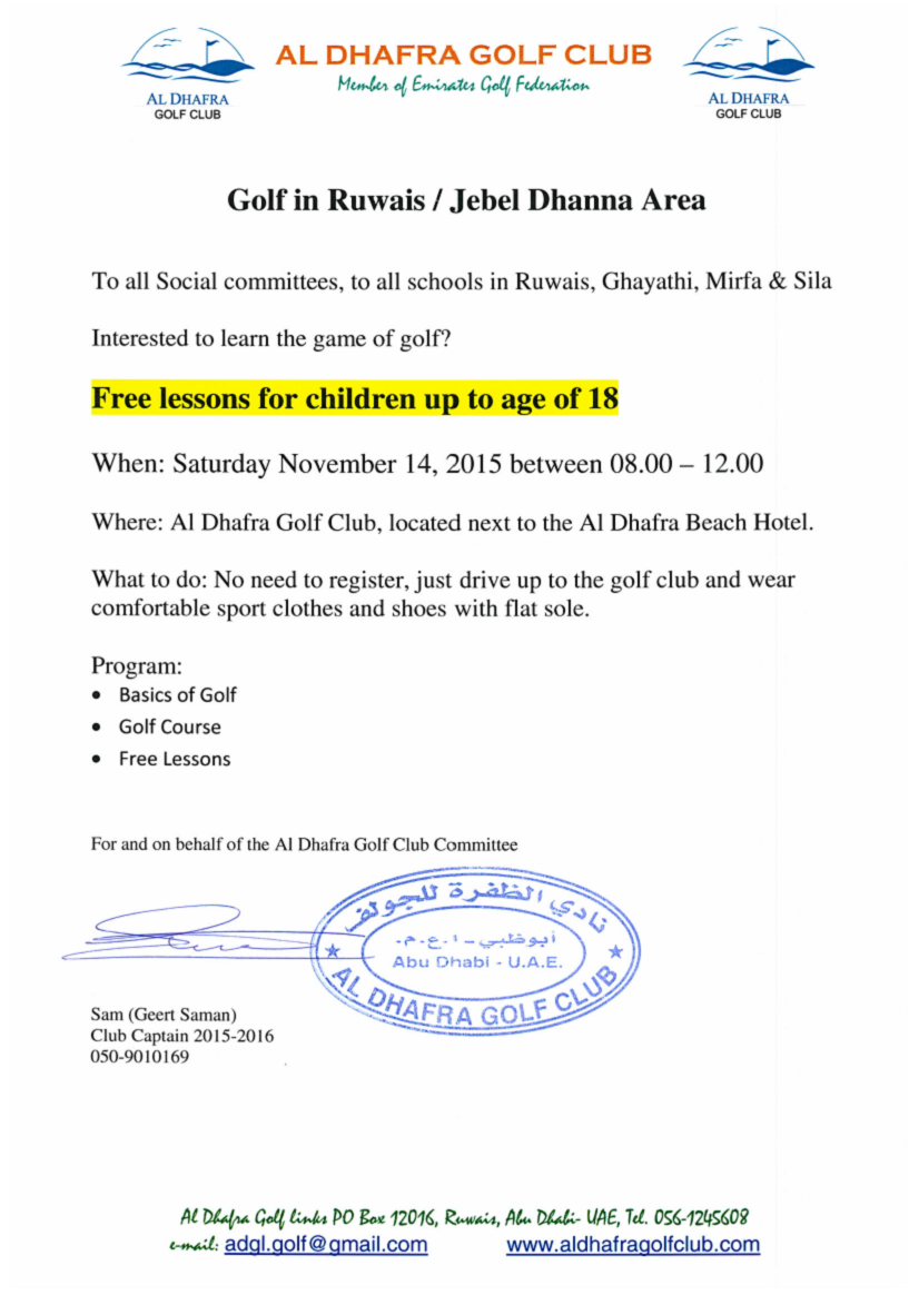 Free Golf lessons for kids